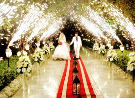 آتش بازی و نورپردازی ویژه ورودی عروس داماد